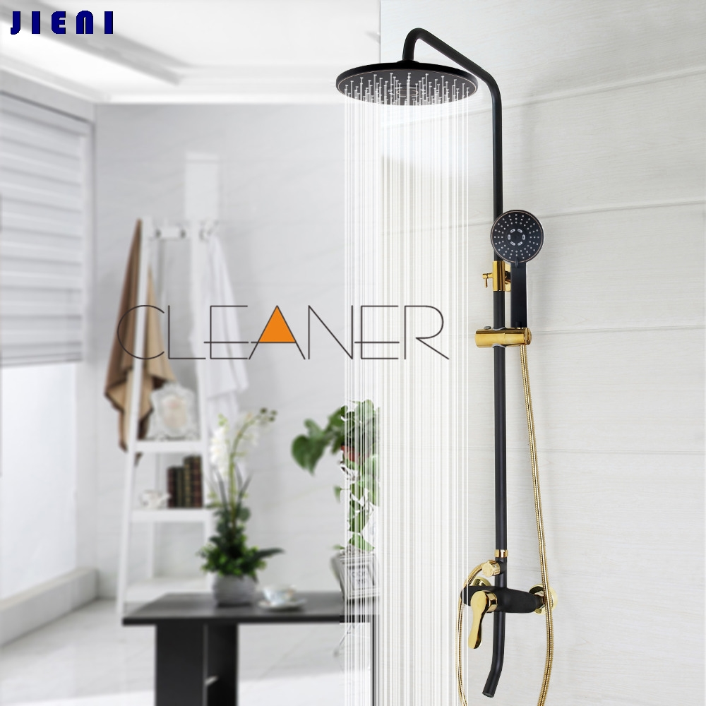Black Gold-plated Wall Mounted Bath Shower Set Faucet Rotation Tub Spout + Handheld Shower Spray + Rainfall Head + Single Handle