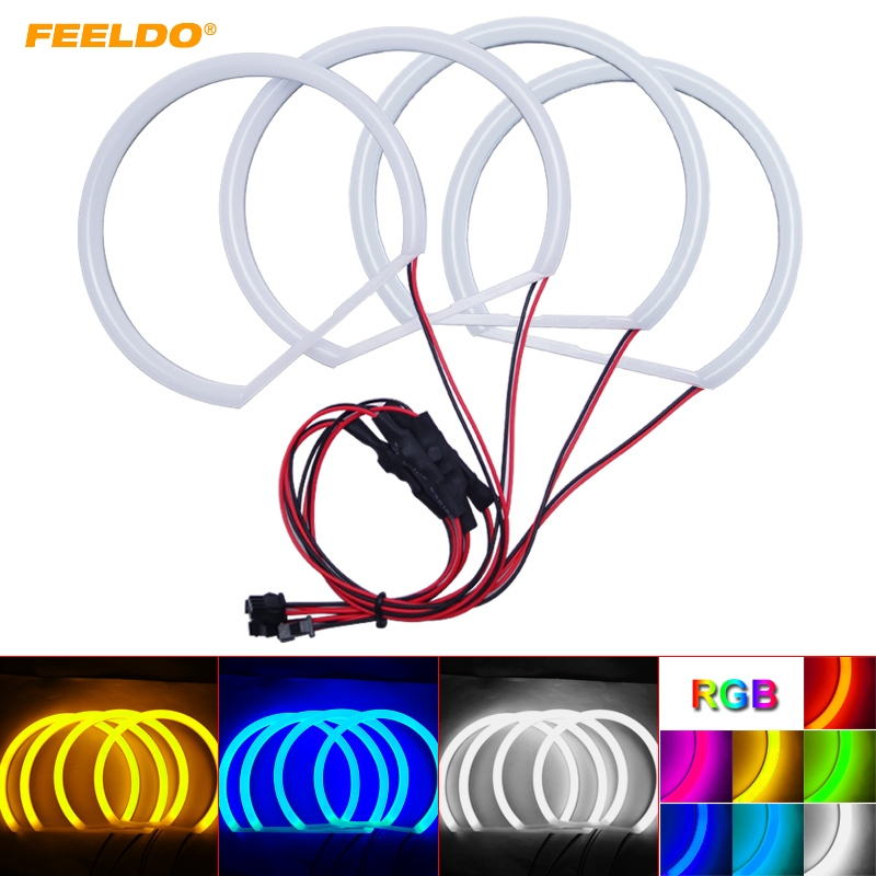 FEELDO 1Set Car Soft Cotton LED Headlight Angel Eyes Halo Ring Daytime Running Light For BMW E36/E38/E39/E46 Projector 4-Color