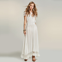 Young17 Summer Dress Women Bohemian Long Beachwear Hollow Patchwork Lace V Neck Vacation Boho White Dress