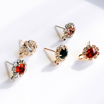 ZEROUP Rhinestone White K Gold Plated Stud Earrings 4 Colors Ear Accessories Jewelry Component Diy Material Handmade 6pcs