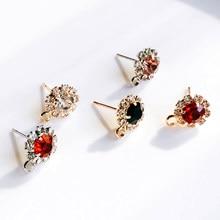 Zeroup strass branco k banhado a ouro brincos 4 cores orelha acessórios componente jóias diy material artesanal 6 peças