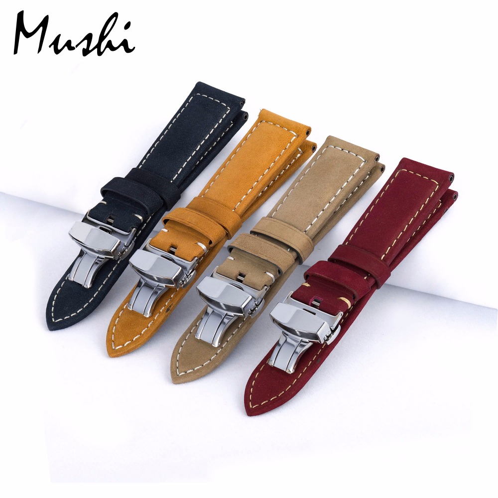 MUSHI Genuine Leather Watchbands Men Women with Butterfly Buckle Bands for Panerai Belt Stainless Steel Buckle 20 22 24 26mm(China)