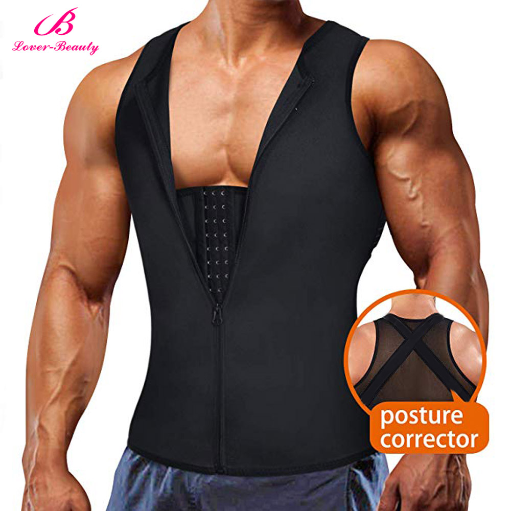 Lover-Beauty Men Body Shaper Back Braces Tank Top Compression Shirt Tummy Trimmer Abs Slim Underwear Vest Girdle Tights