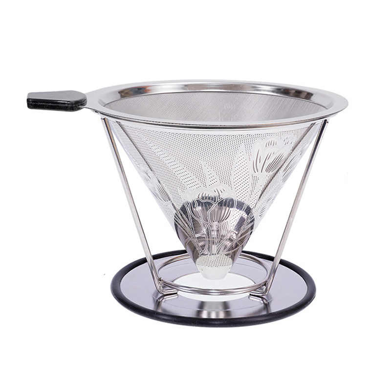 Reusable Double-layer Coffee Filter Stainless Steel Holder Metal Mesh Funnel Baskets Split Design Coffees Dripper JJA002