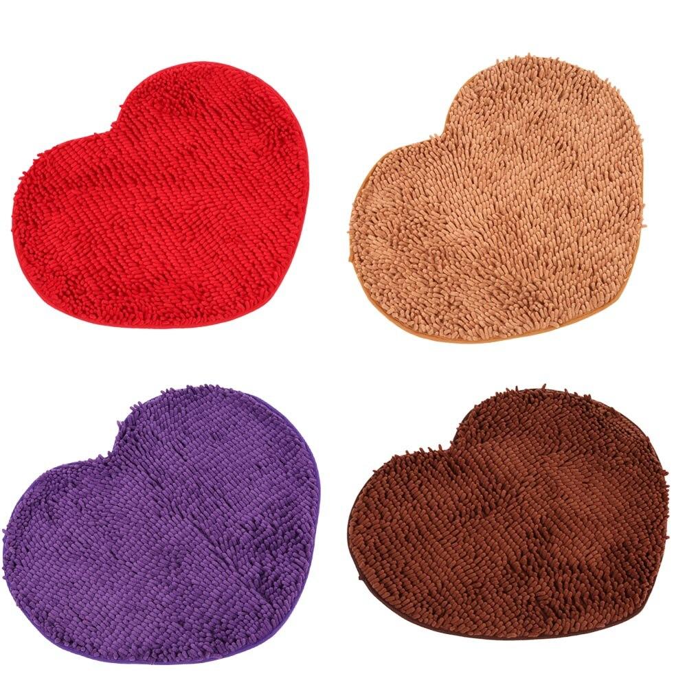 Floor mats super cheap - New Super Soft Entrance Door Mats Chenille Yarn Heart Shape Footcloth Highly Absorbent Carpet Non