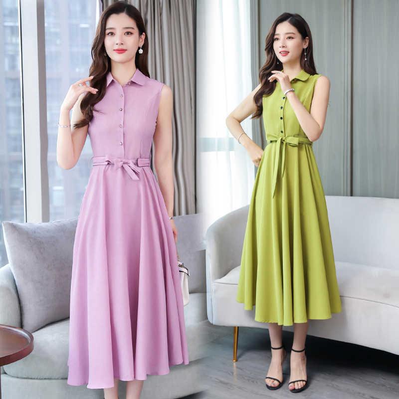 2019 летние Для женщин в Корейском стиле темперамент рубашка, платье, тонкое, элегантное, без рукавов, из хлопка и льна длинные платья; однотонная женская повседневная одежда