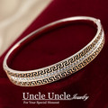 Sparkly!!! Rose Gold Plated Brand Design Austrian Rhinestones Retro Rome Style Lady Bangle Bracelet Wholesale