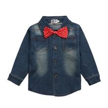 Autumn children's clothing Sets baby suit kids suit kids cotton long sleeve denim shirts + red casual pants CCS340