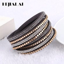 Kejialai Leather Flannelette Double Circle Hot Simulated Wrap Bracelet With Crystal For Women Ethnic Charm Rope Chain KJL032(China)