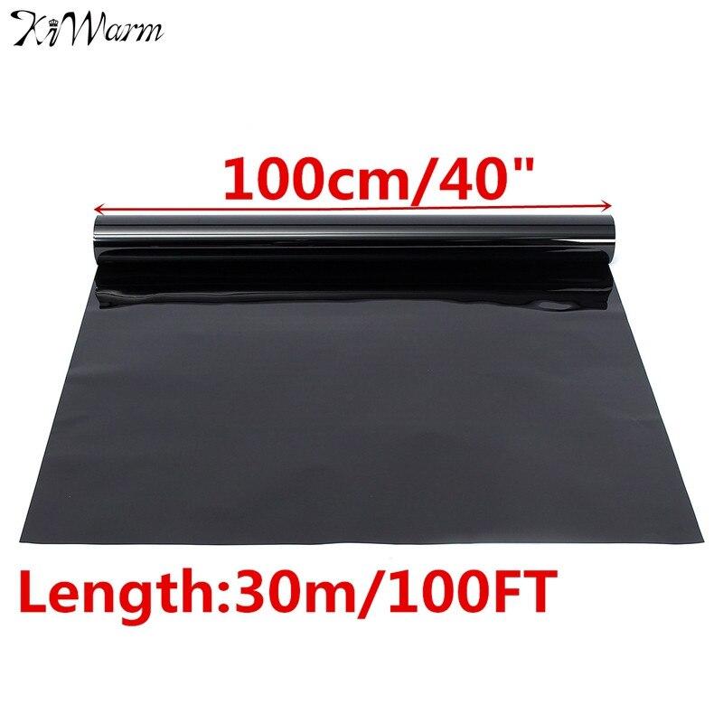 Film de teinte de fenêtre 15% VLT 100 cm x 3 m Film de verre de fenêtre rouleau de Protection solaire feuille d'autocollant extérieur noir pour fenêtre latérale de voiture