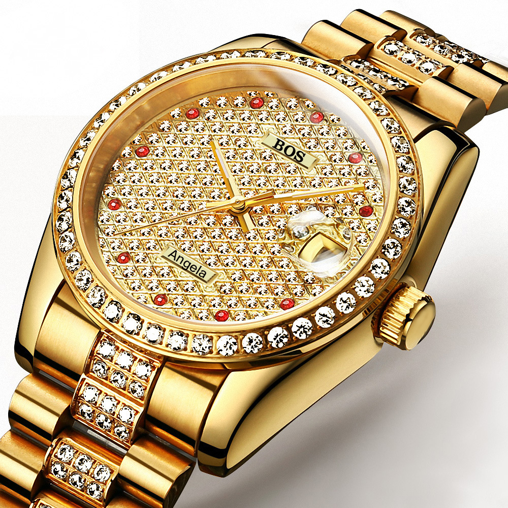 ANGELA BOS Full-screen diamond Tourbillon luxury men mechanical full steel watches sapphire Waterproof fashion men watch