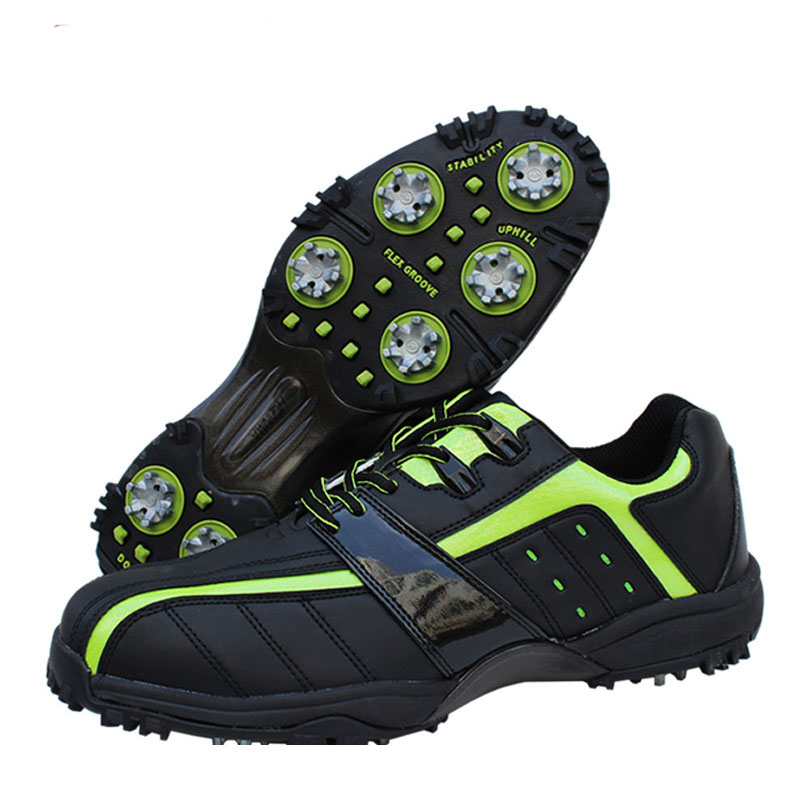 New arrival golf shoes Men sport sneakers synthetic leather waterproof soft outsole fitted nail black and