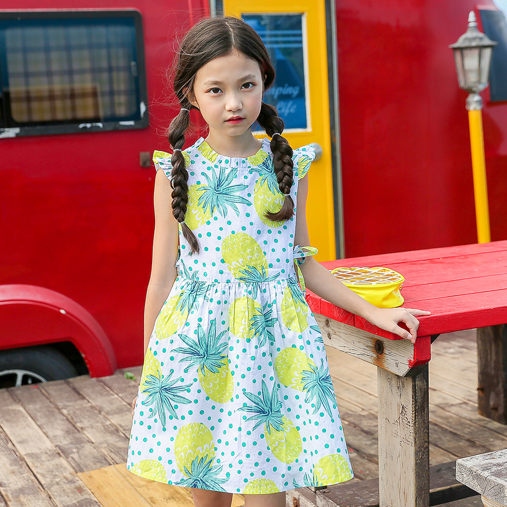 Big Girls Flowers Print Dresses 2018 Summer Teenagers Dress Girl Clothing Child Clothes 3 4 5 6 7 8 9 10 11 12 13 14 Years Kids kindstraum school trend boys formal clothing suits shirt vest pants tie 4 pcs set children sets party