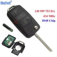 OkeyTech 3 Nút 434 MHZ Xe Điều Khiển Từ Xa Hoàn Thành Lật Key Fob Lưỡi trống Với Chip ID48 Cho VW/SKODA SEAT 1JO 959 753 DA