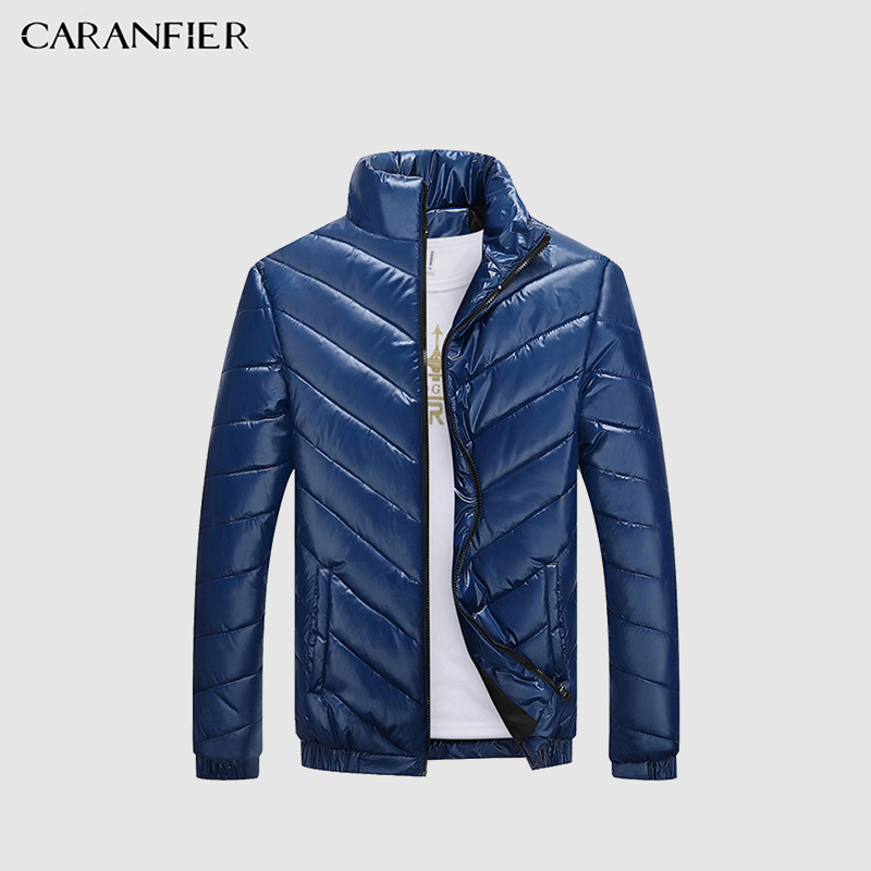 CARANFIER Winter Jacket Men Cotton Padded Warm thicken Short Jacket Coat Clothing Stand Collar Male Solid   Parkas   Coat XS-3XL