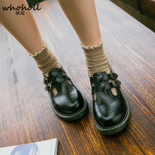 WHOHOLL Women Cosplay Maid Shoes Comiket Black Brown Low Square Heels Double Buckle Straps Leather Kawaii Princess Lolita