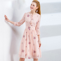 ZINMIN Spring Pink Chiffon Dresses For Women Elegant Casual Embroidery Party Dress Tassel 2019 Autumn Female Dress S XXL