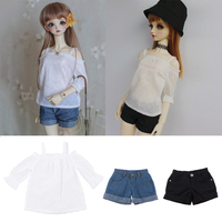 3 Pieces 1/3 BJD Smart Dolls Clothes Top Jeans Trousers for Dollfie SD DD Cuffed Shorts Casual Outfit