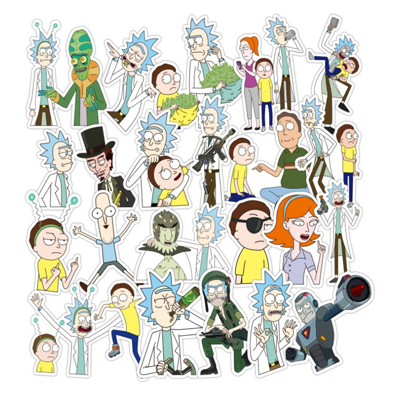 US $4 48 6% OFF|3D anime stickers Rick and Morty 36 pcs/set Waterproof  coating Interesting animated lol dolls Automobile computer smear sticker-in