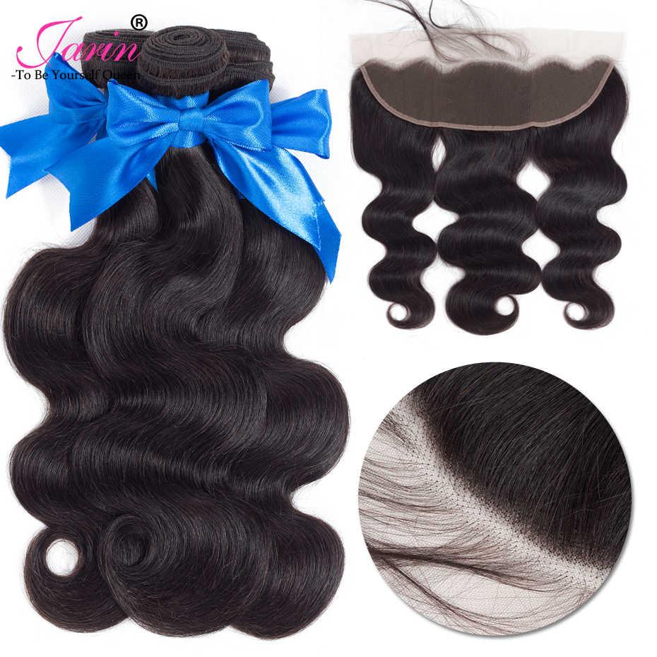 JARIN 9A бразильские волосы 13x4 Кружева Фронтальная Закрытие с 3 пучками тела волна человеческие волосы пучки с 130% плотность закрытие Remy # 1B