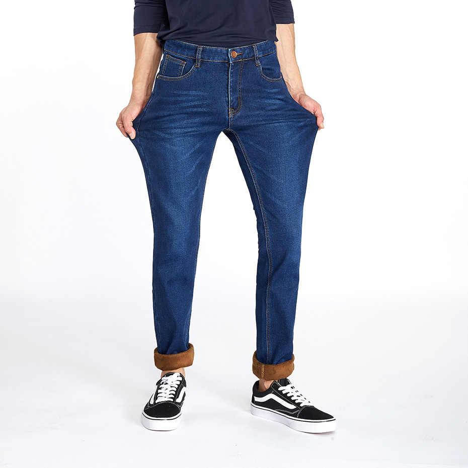99729bd9b77c ... Drizzte Jeans Mens Winter Warm Fleece Flannel Lined Stretch Black Blue Denim  Trousers Pants Size 28