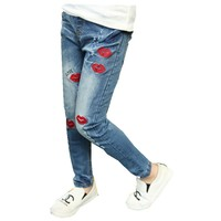 Girls Spring Autumn New JeansTrousers Kids Pants Blue Demin Kiss Printing