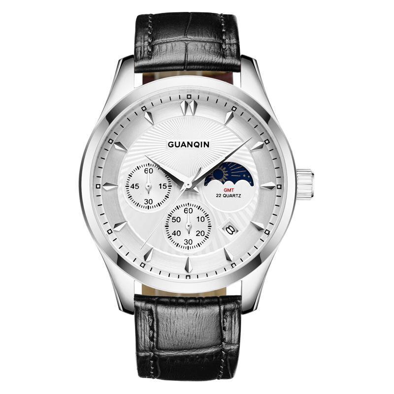 GUANQIN GQ80069 Moon phase GMT Luxury Brand Watches Men Fashion Leather Quartz Watch Luminous Wristwatch relogio masculino mens watches top brand luxury guanqin men fashion moon phase luminous wristwatch sport leather quartz watch relogio masculino