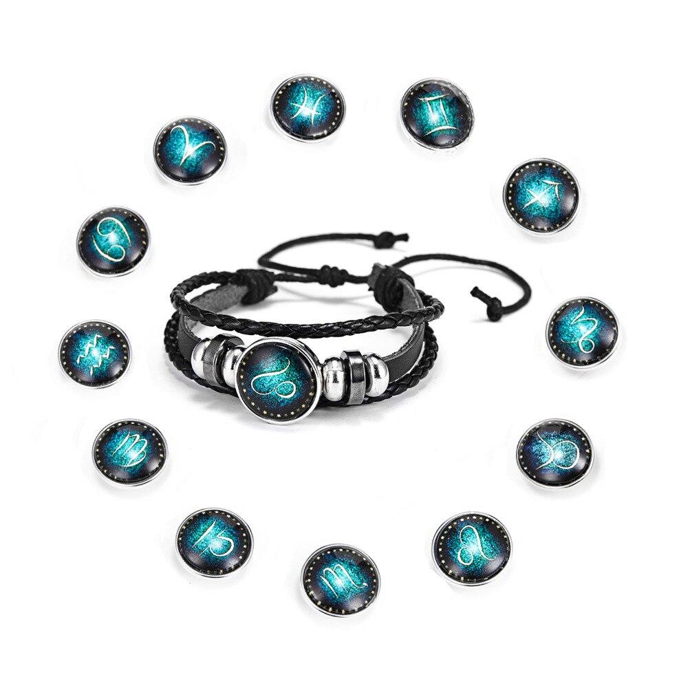 Precise 12 Constellation Zodiac Sign Black Braided Leather Bracelet Cancer Leo Virgo Libra Woven Glass Dome Jewelry Punk Men Bracelet Discounts Sale Jewelry & Accessories