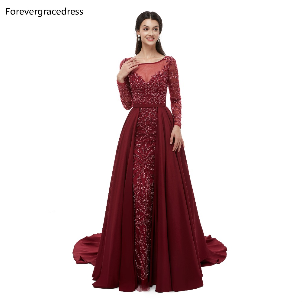 Forevergracedress Long Sleeves   Prom     Dresses   2019 Sheer Neck Beading With Detachable Skirt   Prom   Party Gowns Plus Size Custom Made