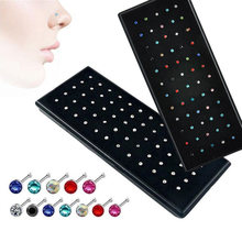 60pcs/set Crystal Rhinestone Nose stud Stainless Surgical Nose Piercing Stud Superfine ear bone needle earrings Body Jewelry(China)