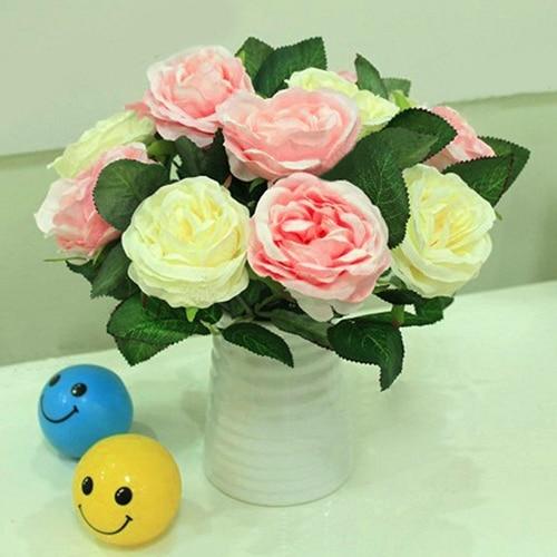 NEW 1 PC Artificial Silk Rose Fake Flower Leaf Bridal Bouquet Home Wedding Decor