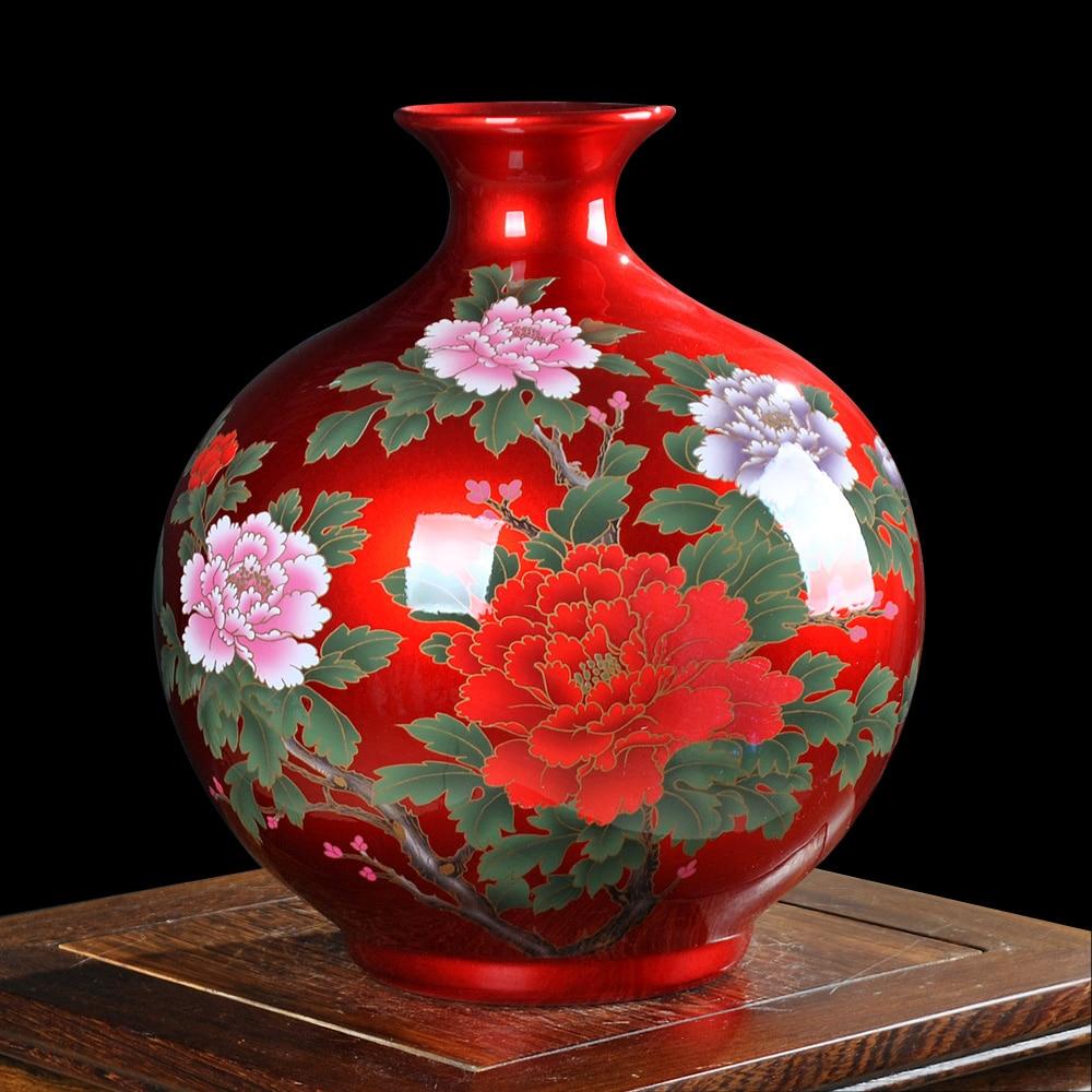 jingdezhen cermica china cristal rojo esmalte jarrn de decoracin moderna sala de estar decoracin muebles para