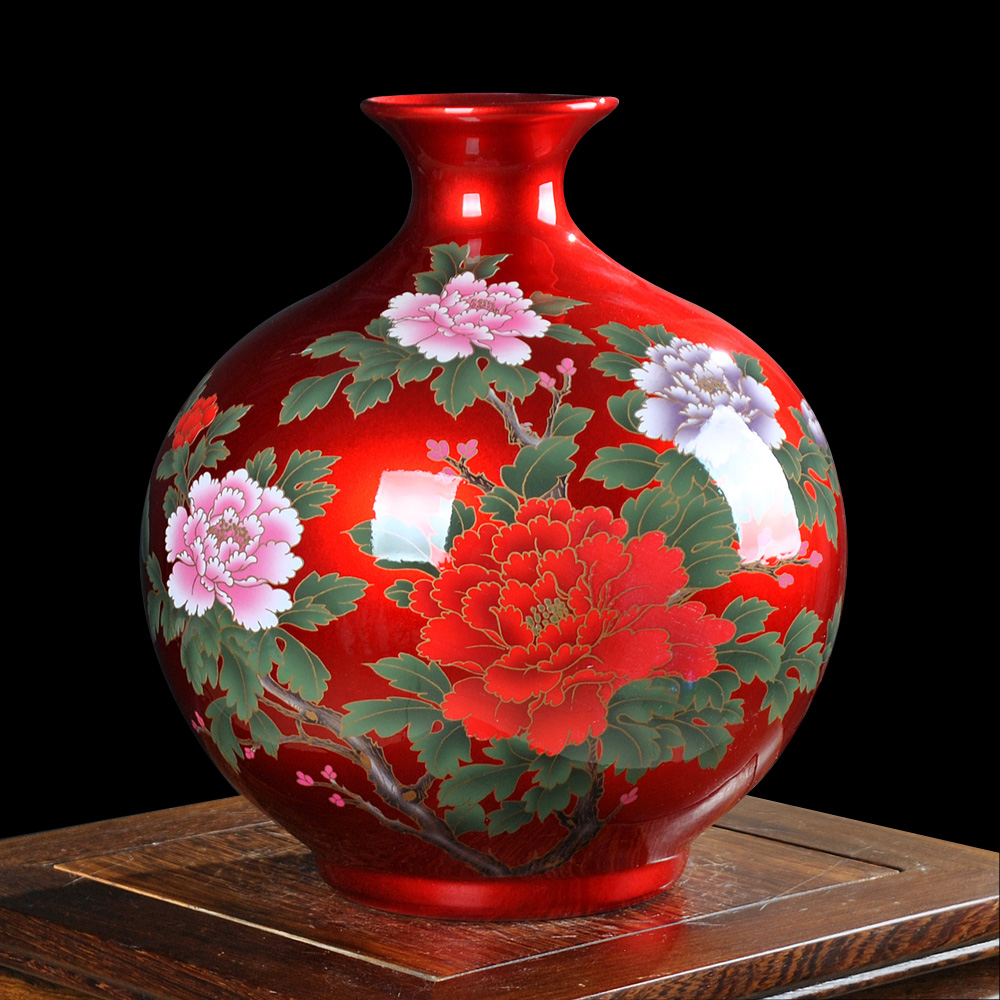 Jingdezhen ceramics china red crystal glaze vase of modern for Modern living room vases