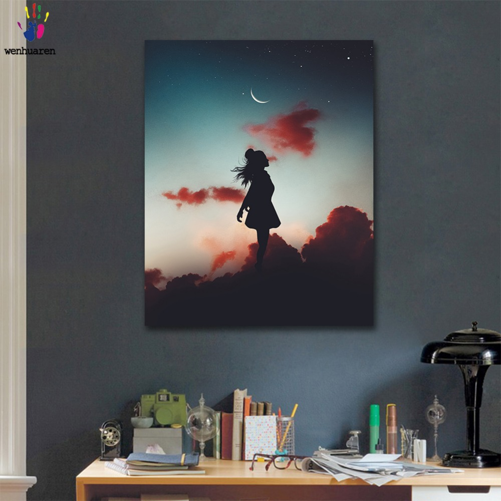 DIY painting pictures by numbers Mood for love girl silhouette picture coloring by numbers framed Home for adult for hoom decor