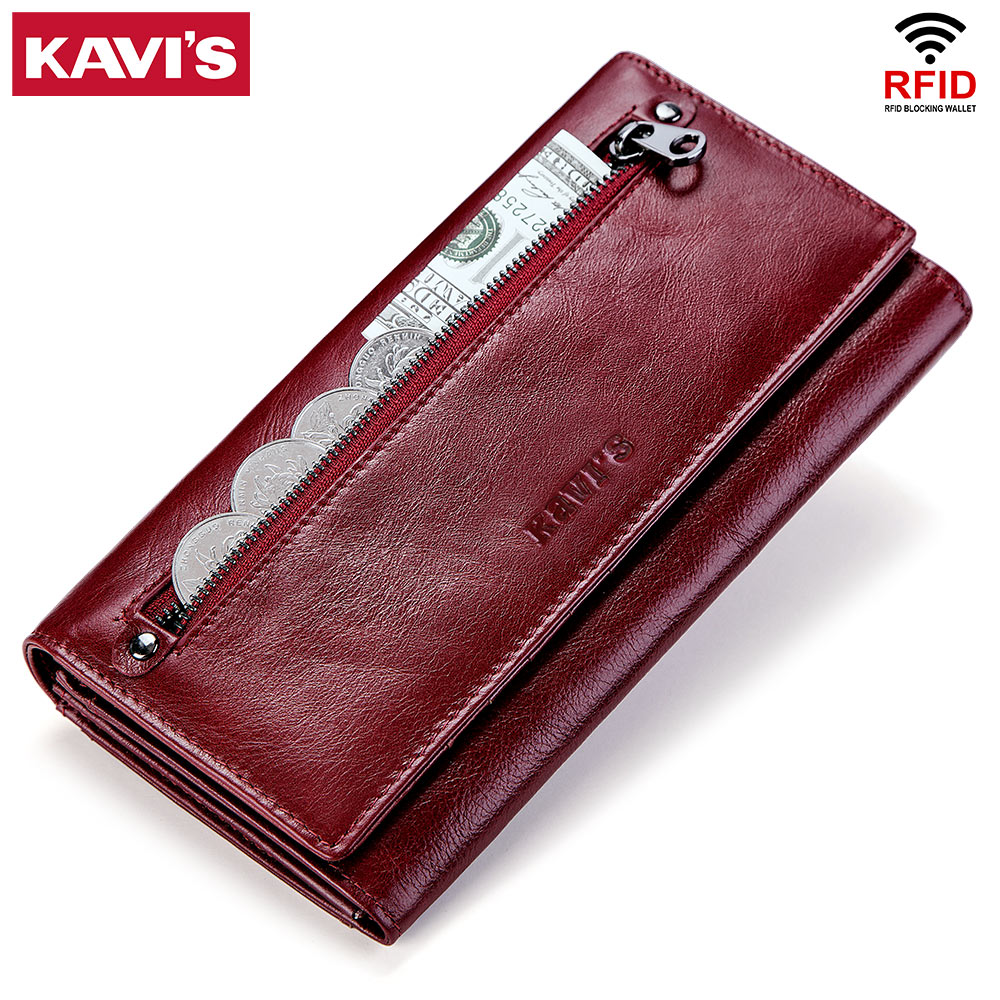 KAVIS Genuine Leather Women Wallet And Purse Female Coin Purse Portomonee Clamp For Money Bag Zipper Card Holder Handy Perse
