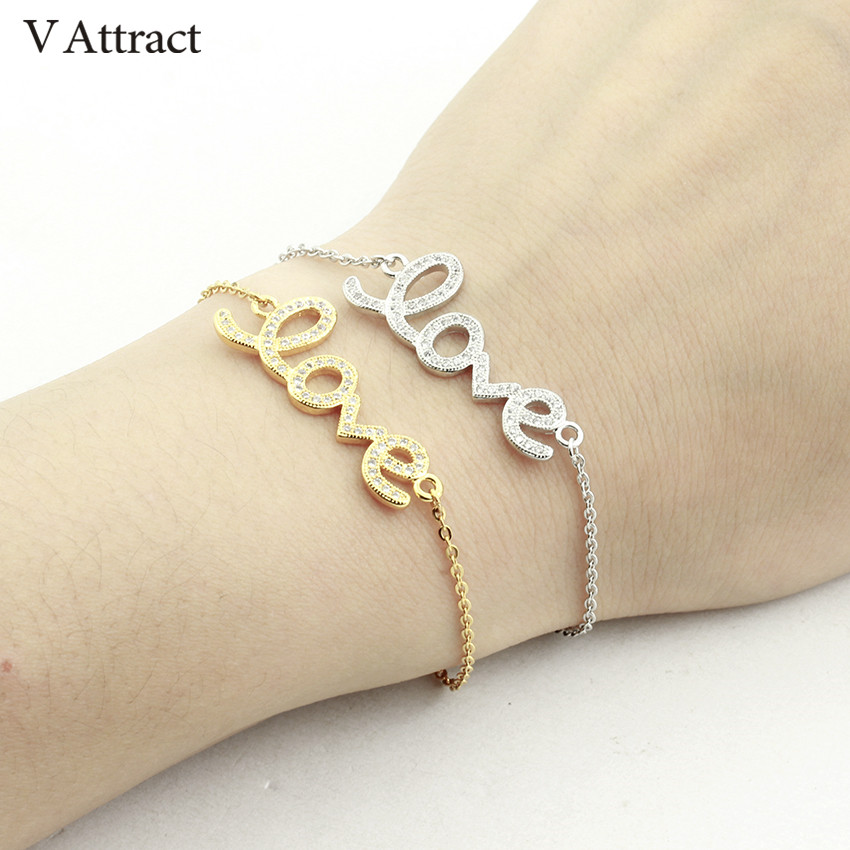 V Attract Valentines Gift Simple Cz Love Charm Bracelets For Women Fashion Jewlery Cubic Zirconia Statement Pulseira Masculina