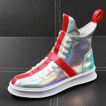 CuddlyIIPanda Brand Men Fashion Casual Shoes Spring Autumn Men Shoes Male High Top Botas Hombre Men Leisure Silver Hip-hop Boots