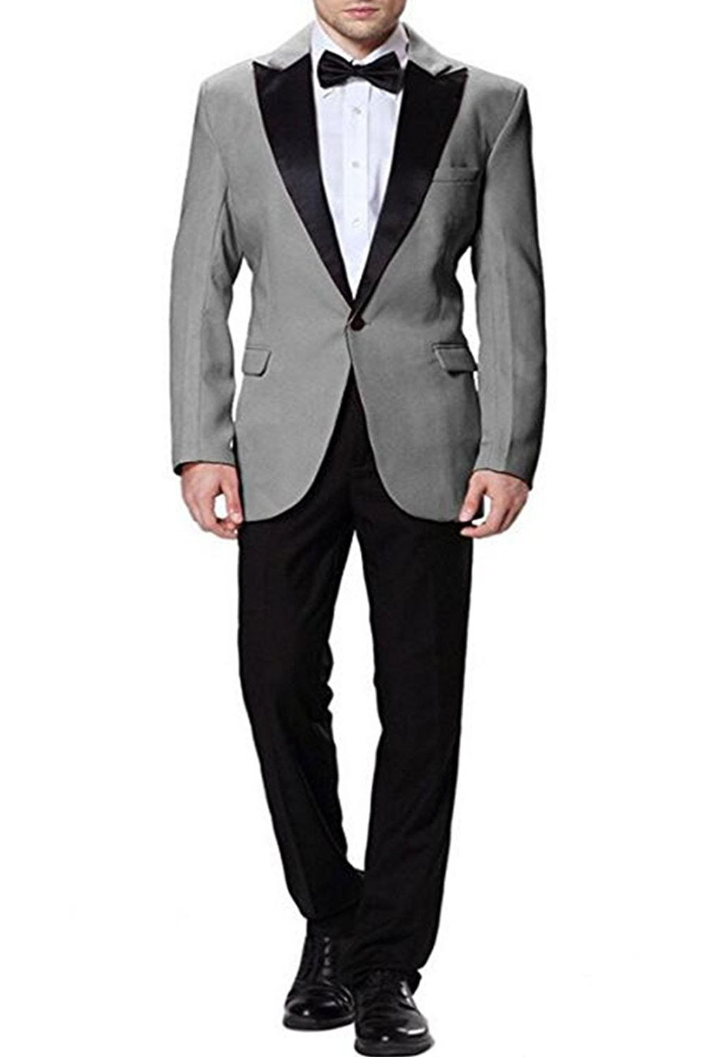 Men Suits Slim Fit Groom Wedding Suits Grey with Black Pants  2 pieces Slim Fit Terno Masculino Custom Made