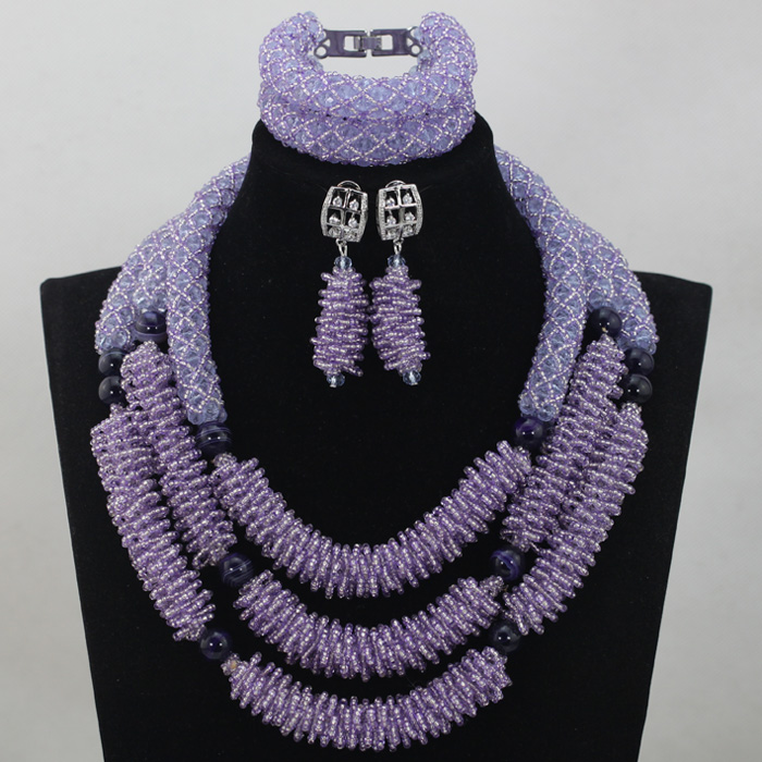 New Design Lilac Beads Wedding Necklace Jewelry Set 2017 Chunky Costume African Nigerian Crystal Beads Bridal Jewelry SetABL846New Design Lilac Beads Wedding Necklace Jewelry Set 2017 Chunky Costume African Nigerian Crystal Beads Bridal Jewelry SetABL846
