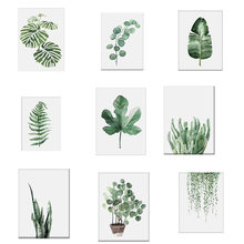 New Fashion Watercolor Tropical Plant leaves Canvas Art Print Poster Nordic Green Plant leaf rural Wall Pictures for Home Decor(China)