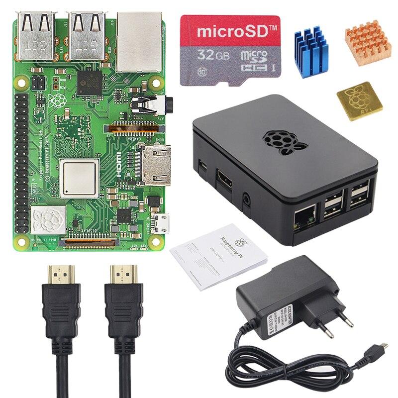 Raspberry d'origine Pi 3 B + Kit de démarrage + boîtier + alimentation 2.5A + carte SD 16 32 GB + dissipateur de chaleur pour Raspberry Pi 3 modèle B + Plus