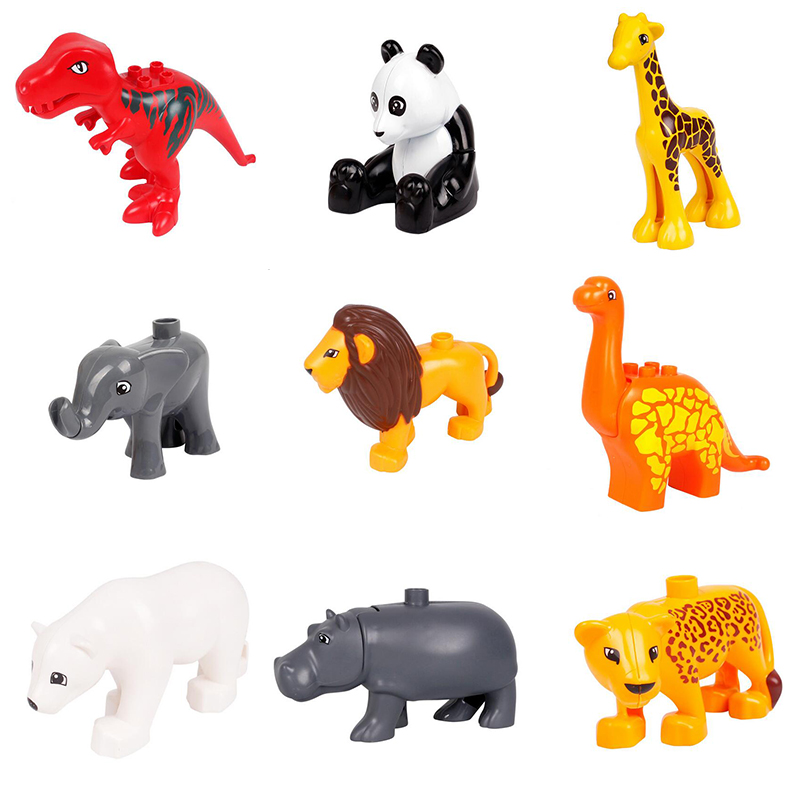 Animal Zoo Large Building Blocks Enlighten Child Toys Lion Pig DIY Set Brick Compatible With Duploe Kids Gift hm136 57pcs large particle building