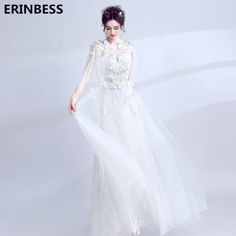 Vestidos De Novia 2018 Scoop Neck Tulle With Appliques Vintage Beach Wedding Dresses Floor Length Bridal Gowns Wedding Dress