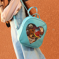 New Mini Backpacks Shoulders Bags Casual Summer Candy Transparent Love Heart Shape Backpacks School For Girls