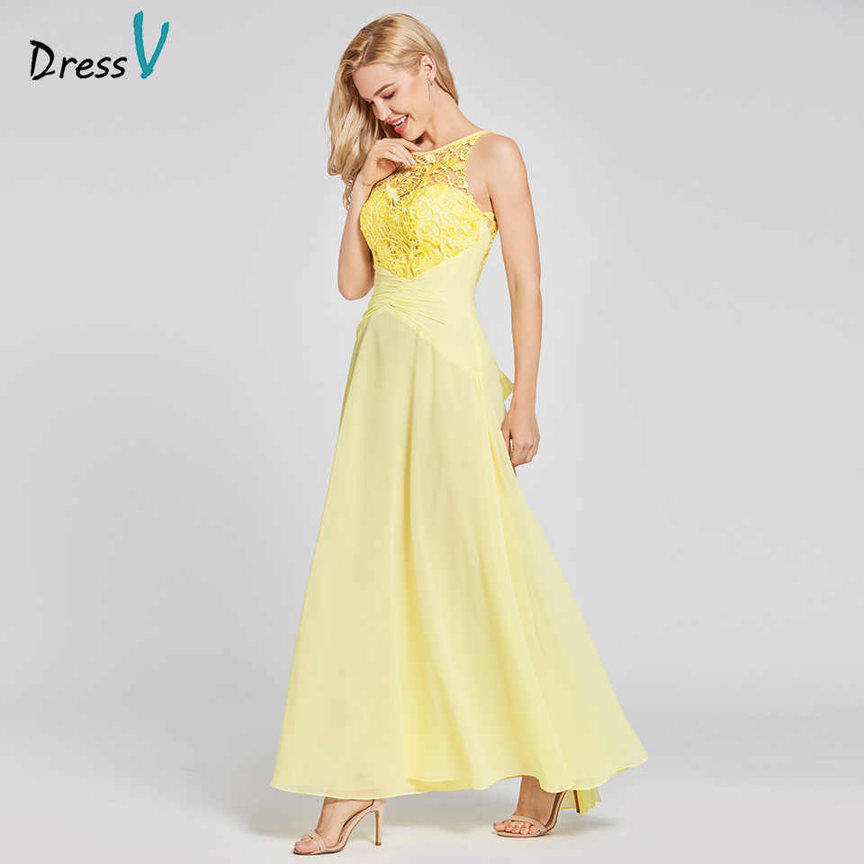 Dressv daffodil long evening dress cheap scoop neck sleeveless a line ankle  wedding party formal dress 5a84fb69b324