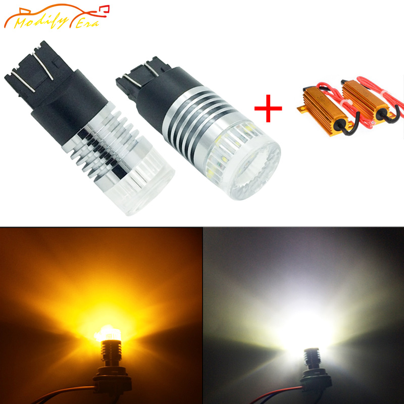 Modify.Era 2pcs 7443 7444NA T20 Car Canbus Error LED Bulb Cree Chips For DRL Turn Signal Lights Dual-Color Switchback Auto Light