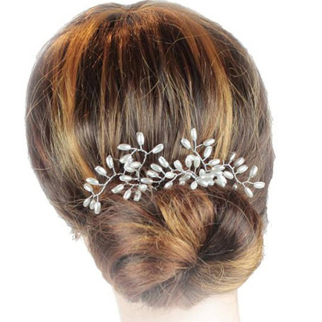 58f3ca7b7 1 Pair Handmade Pearl Wedding Hair Vine Bridesmaid Hair Pin Clip Floral Bridal  Hair Forks For Women Head Jewelry
