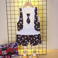 Summer Fashion Baby Boy Girl Clothes Infant Cotton Tie Vest Shorts 2pcs/sets Toddler Casual Garment Kids Clothing Children Suits стоимость