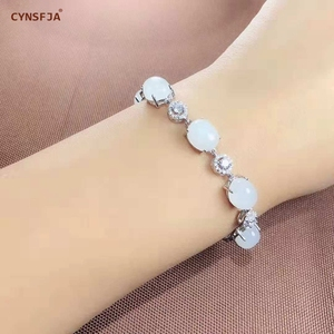 Xinjiang Nephrite  Beads Bracelets Silver 925 Certified Natural Chinese Hetian White Jade Bracelet High Quality Birthday Gifts
