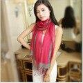 2016 Nueva Bufanda de Phnom Penh damas Color Nude Hilo Eugen primavera larga Sección de señoras de Seda Pura Doble capa Bufanda de regalo A29